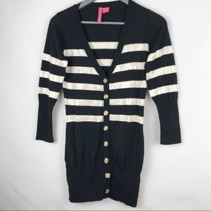 Charlotte Youth Black Stripe Sequins Cardigan - M